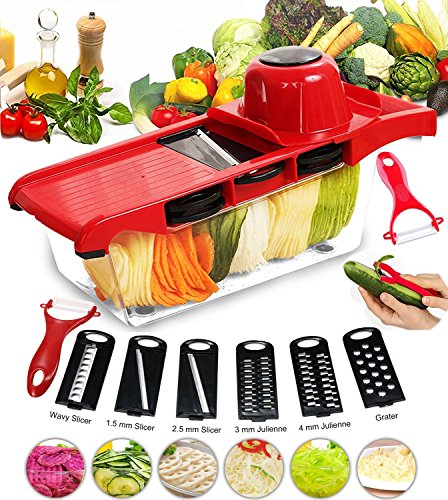 Mandoline-Trancheuse-BYETOO-Date-6-1-Multi-fonction-Trancheuse-Dcoupe-les-fruits-et-les-lgumes-Mandoline-lgumes-SlicerMeilleur-pour-Carotte-Concombre-Fromage-Oignons-Tomates-rouge-0