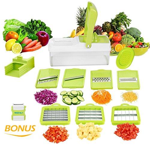 Mandoline-10-en-1-Multifonction-Professionnelle-Couper-les-Legumes-Fruit-Citron-Vert-7-Lames-Diffrentes-Couteau-en-Acier-Inoxydable-Utilisation-Rapide-et-Facile–Nettoyer-de-WEINAS-plucheur-par-Bonus-0