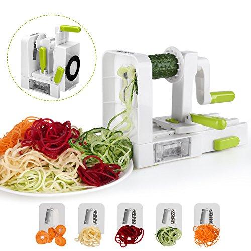 Spiralizer-5-lames-Coupe-lgumes-spirale-de-lgumes-Sedhoom-pliable-trancheuse-spirale-Meilleur-courgettes-nouilles-et-lgumes-Ptes-et-Spaghetti-Maker-pour-Low-CarbPalorepas-sans-gluten-0