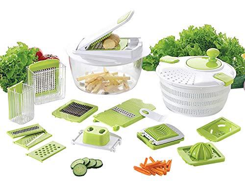 Coninx-Cucina-Coupe-Fruits-et-Lgumes-avec-Lame-Interchangeable-Manette-de-Lgumes-Pommes-de-Terre-et-oignons-avec-Slicer-Cube-et-essoreuse–Salade-Blanc-Vert-0