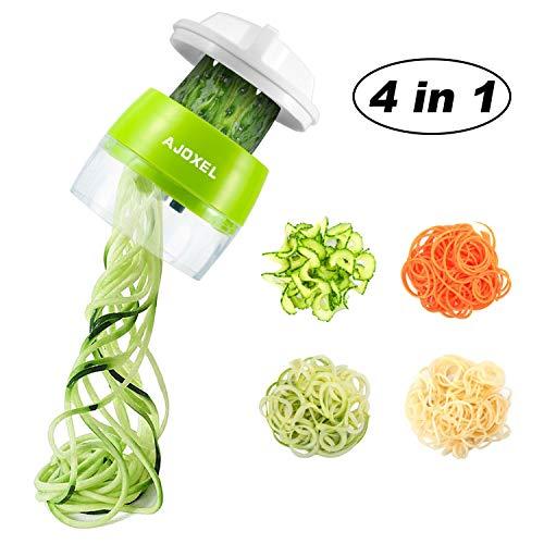 AJOXEL-Coupe-Lgumes-Spirale-4-en-1-Spaghetti-de-Lgumes-Spiralizer-Legume-Trancheuse-Mandoline-Cuisine-Vgtale-Eplucheur-pour-Courgette-Nouilles-SpaghettisTagliatelleCarotteConcombre-0