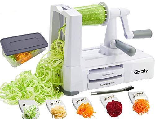 Coupe-lgumes-en-Spirale-avec-5-Lames-Couteau–Spaghetti-Zucchini-Couteau–Mandoline-le-Plus-Puissant-avec-Couvercle-Pinceau-et-Rcipient-0