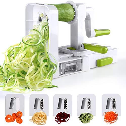 Sedhoom-Spiralizer-5-Lames-Coupe-lgumes-Spirale-de-lgumes-Pliable-trancheuse-Spirale-courgettes-Nouilles-et-lgumes-Ptes-et-Spaghetti-Maker-pour-Low-CarbPaloRepas-sans-Gluten-0